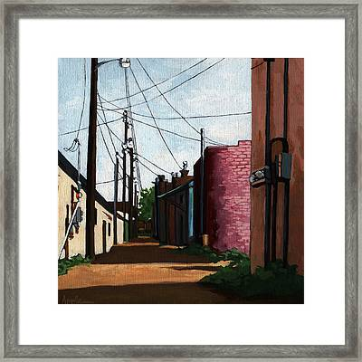 Back Street Alley City Painting Framed Print by Linda Apple