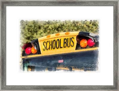 Back To School Bus Watercolor Framed Print by Edward Fielding