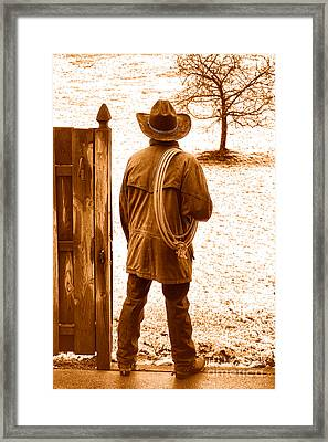 Back To Work - Sepia Framed Print by Olivier Le Queinec
