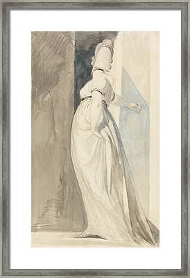 Back View Of A Standing Female Called Mrs. Fuseli Framed Print by Henry Fuseli