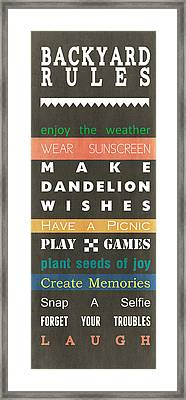 Backyard Rules Framed Print by Linda Woods