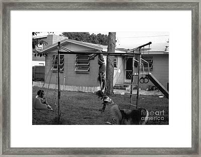Backyard Swing Set..... Framed Print by WaLdEmAr BoRrErO