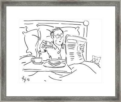 Bacon Sandwich Processed Meats Cause Cancer Cartoon Framed Print by Mike Jory