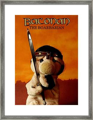 Baconan The Boarbarian Framed Print by Piggy