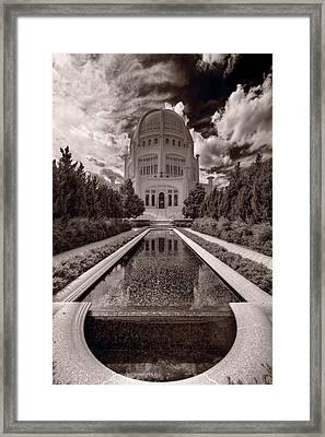 Bahai Temple Reflecting Pool Framed Print by Steve Gadomski