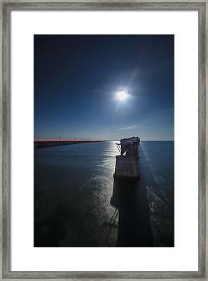 Bahia Honda By The Moonlight Framed Print by Dan Vidal