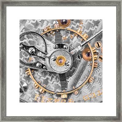 Balance Wheel Of A Vintage Pocketwatch Framed Print by Jim Hughes