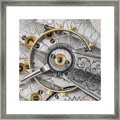 Balance Wheel Of An Antique Pocketwatch Framed Print by Jim Hughes