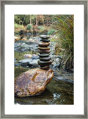 Balancing Zen Stones In Countryside River Vi Framed Print by Marco Oliveira