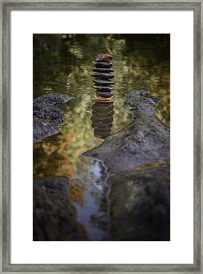 Balancing Zen Stones In Countryside River X Framed Print by Marco Oliveira