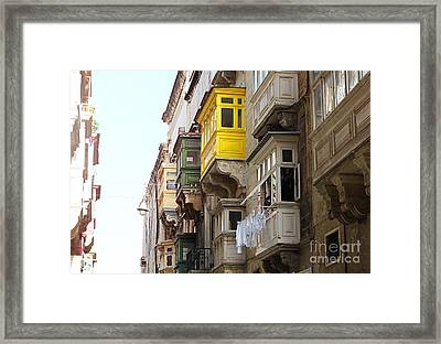Balconies Of Valletta 1 Framed Print by Jasna Buncic