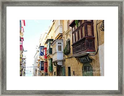 Balconies Of Valletta 3 Framed Print by Jasna Buncic