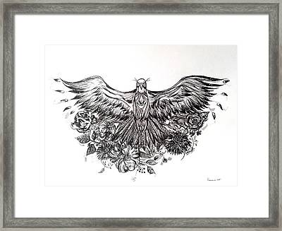 Bald Eagle And Flowers Framed Print by Kremena Petkova