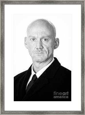 Bald Headed Man Wearing Heavy Black Overcoat Framed Print by Joe Fox