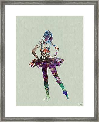 Ballerina Watercolor Framed Print by Naxart Studio
