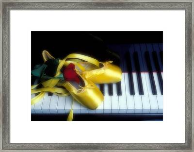 Ballet Shoes On Piano Keys Framed Print by Garry Gay