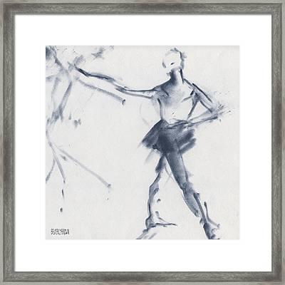 Ballet Sketch Tendu Front Framed Print by Beverly Brown Prints