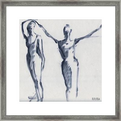 Ballet Sketch Two Dancers Arms Overhead Framed Print by Beverly Brown