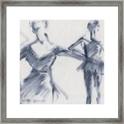 Ballet Sketch Two Dancers Gaze Framed Print by Beverly Brown Prints