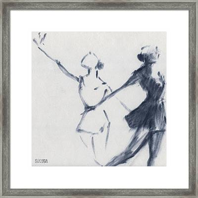 Ballet Sketch Two Dancers Mirror Image Framed Print by Beverly Brown