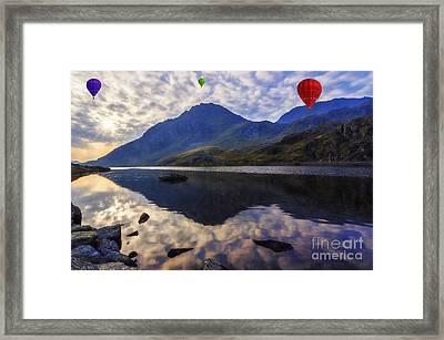 Balloon Flight At Sunrise Framed Print by Ian Mitchell