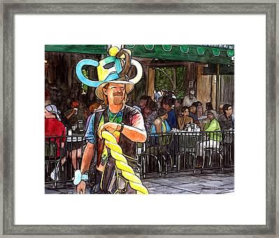Balloon Guy At Cafe Du Monde Framed Print by John Boles
