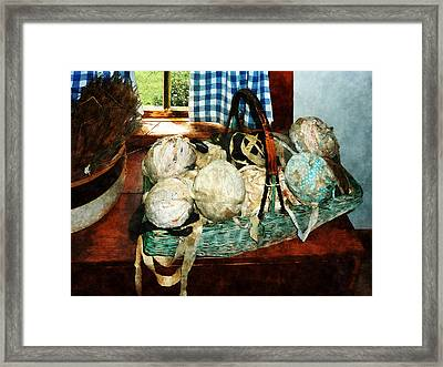 Balls Of Cloth Strips In Basket Framed Print by Susan Savad