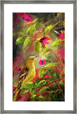 Baltimore Oriole Art- Baltimore Female Oriole Art Framed Print by Lourry Legarde