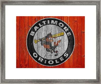 Baltimore Orioles Graphic Barn Door Framed Print by Dan Sproul