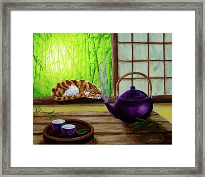 Bamboo Morning Tea Framed Print by Laura Iverson