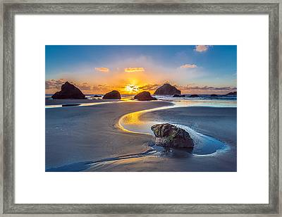 Bandon Face Rock Framed Print by Robert Bynum