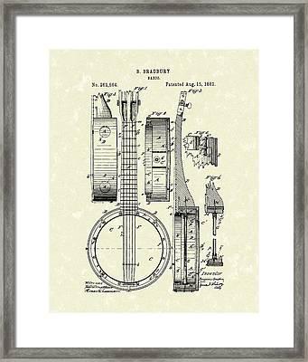 Banjo 1882 Patent Art Framed Print by Prior Art Design