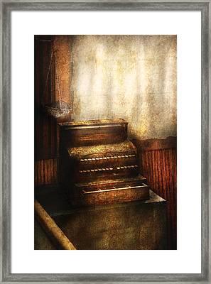 Banker - An Old Cash Register Framed Print by Mike Savad