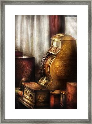 Banker - Brass Cash Register  Framed Print by Mike Savad