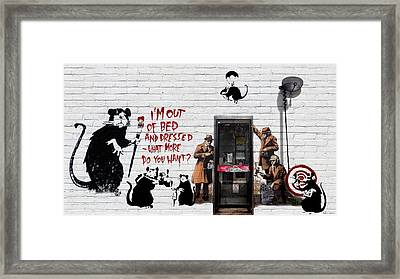 Banksy - The Tribute - Rats Framed Print by Serge Averbukh