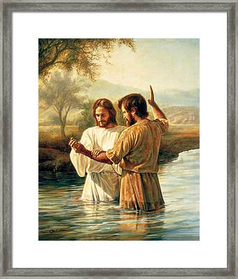 Baptism Of Christ Framed Print by Greg Olsen