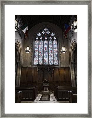 Baptismal Font - Church Of Heavenly Rest Framed Print by Stephen Stookey