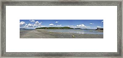 Bar Island And Land Bridge Panorama - Bar Harbor Maine Framed Print by Brendan Reals