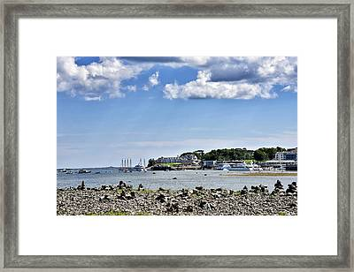 Bar Island View Of Bar Harbor - Maine Framed Print by Brendan Reals