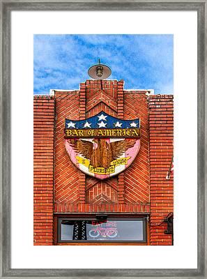 Bar Of America Framed Print by Bill Gallagher