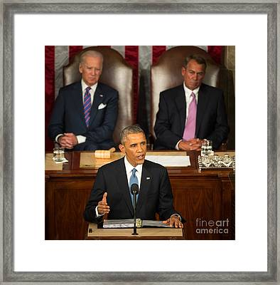 Barack Obama 2015 Sotu Address Framed Print by Science Source