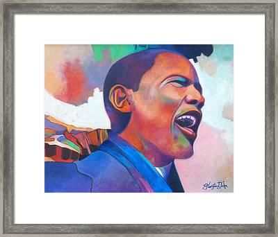 Barack Obama Framed Print by Glenford John