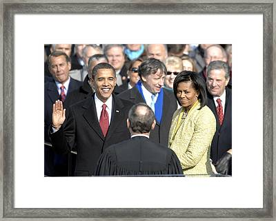 Barack Obama Is Sworn In As The 44th Framed Print by Everett