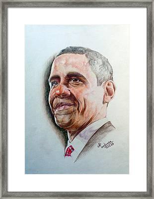 Barack Obama Framed Print by Jayantilal Ranpara