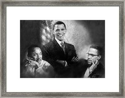 Barack Obama Martin Luther King Jr And Malcolm X Framed Print by Ylli Haruni