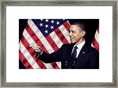 Barack Obama Framed Print by Queso Espinosa