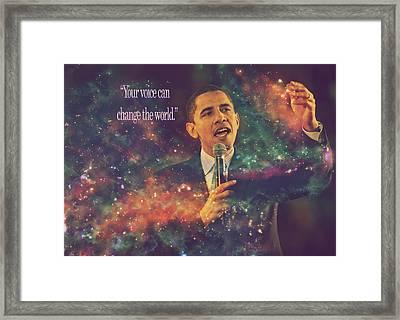 Barack Obama Quote Digital Artwork Framed Print by Georgeta Blanaru