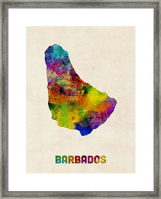 Barbados Watercolor Map Framed Print by Michael Tompsett