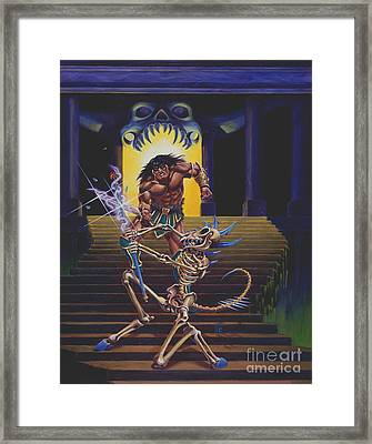 Barbarian And Skeleton Wizard Framed Print by Melissa A Benson