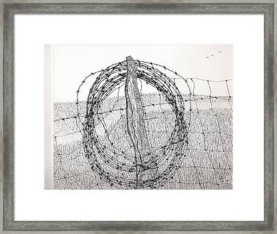 Barbed Coil Framed Print by Pat Price